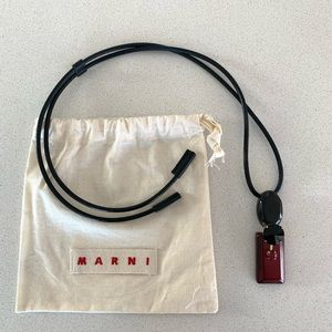 MARNI leather, horn & crystal necklace